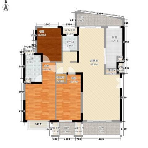 云岭居3室0厅2卫1厨177.00㎡户型图