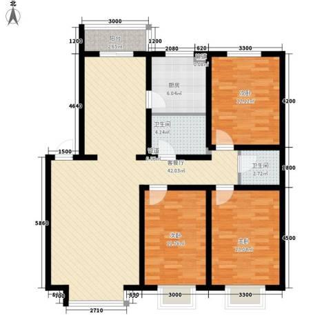 青阳四季园3室1厅2卫1厨136.00㎡户型图