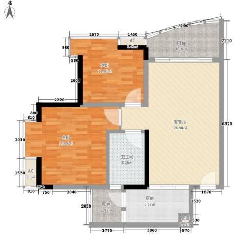 常康花园2室1厅1卫1厨88.00㎡户型图