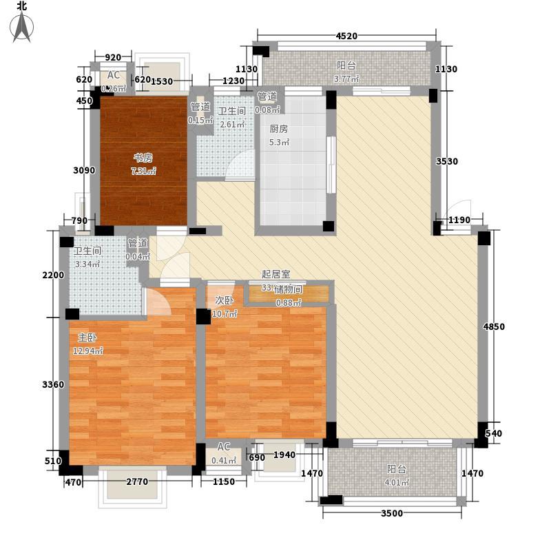 华美福邸127.00㎡华美福邸户型图13#C1户型3室2厅2卫1厨户型3室2厅2卫1厨