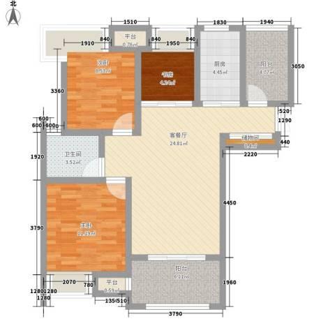 亚泰梧桐世家3室1厅1卫1厨89.00㎡户型图