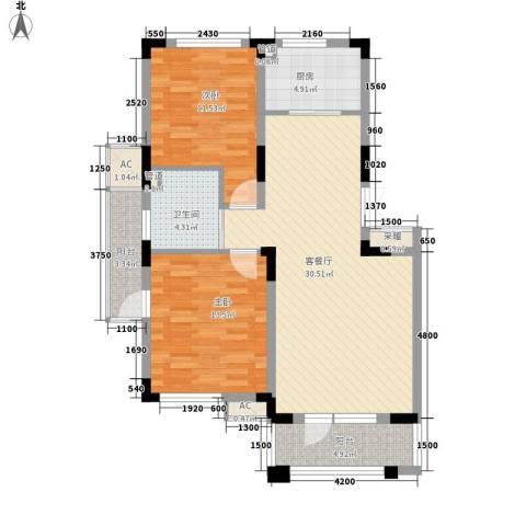富奥新东区2室1厅1卫1厨95.00㎡户型图