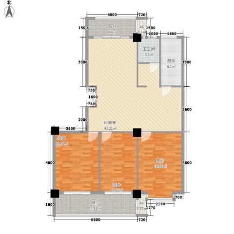 日月花园3室0厅1卫1厨126.21㎡户型图