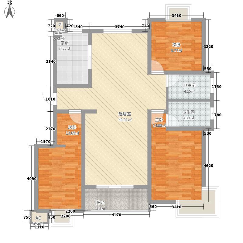 福宇凤凰华庭142.00㎡高层F户型3室2厅2卫1厨