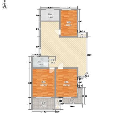 日月花园3室0厅1卫1厨106.82㎡户型图