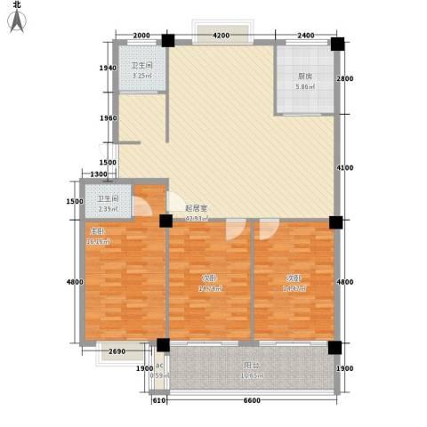 日月花园3室0厅2卫1厨122.50㎡户型图
