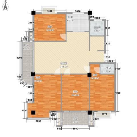 日月花园4室0厅2卫1厨143.48㎡户型图