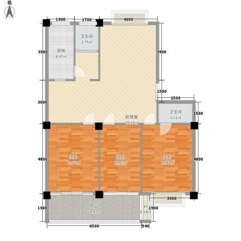 日月花园3室0厅2卫1厨118.05㎡户型图