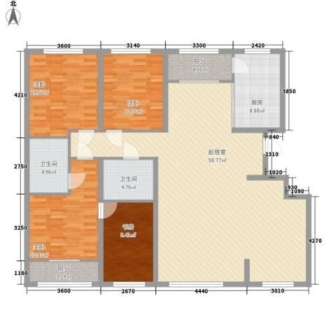 都市左岸4室0厅2卫1厨181.00㎡户型图