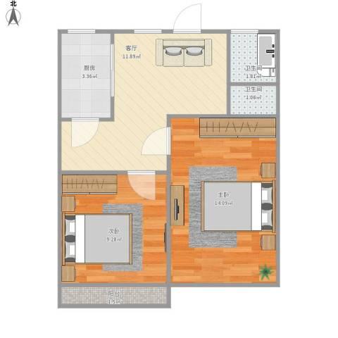 上南十村2室1厅2卫1厨58.00㎡户型图