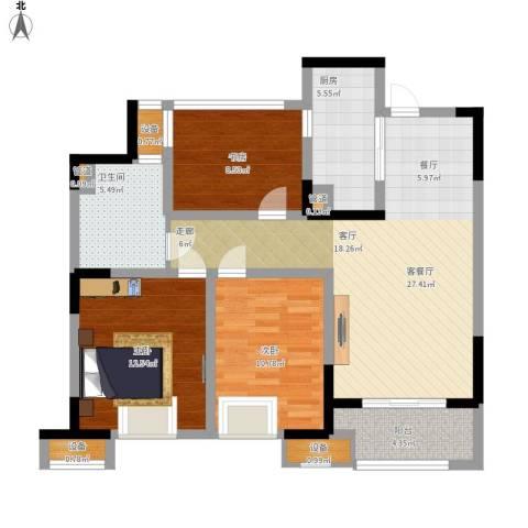鑫苑湖居世家3室1厅1卫1厨114.00㎡户型图