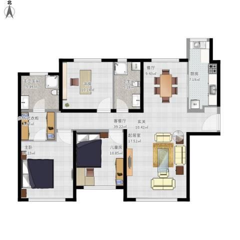 融创洞庭路壹号3室1厅1卫1厨133.00㎡户型图