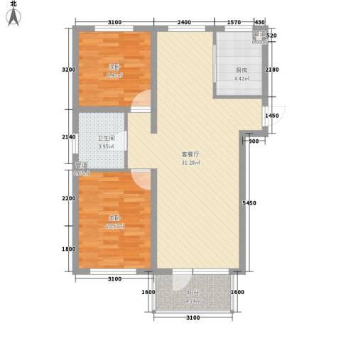 悦泰祥里2室1厅1卫1厨90.00㎡户型图