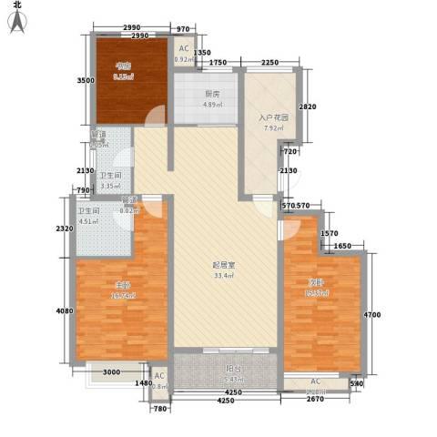 东方名都3室0厅2卫1厨126.00㎡户型图