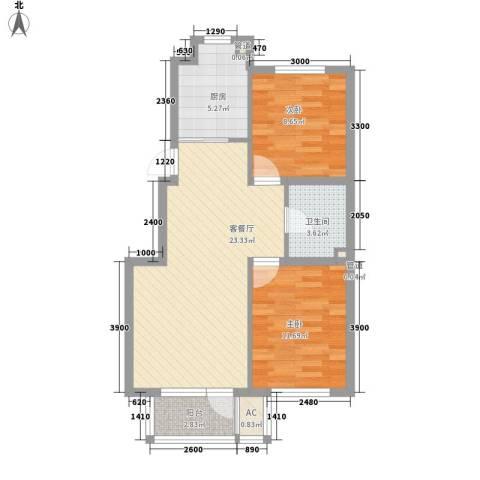 悦泰祥里2室1厅1卫1厨79.00㎡户型图