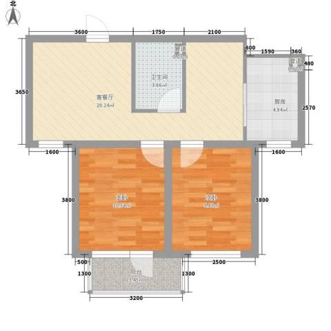 悦泰祥里2室1厅1卫1厨76.00㎡户型图