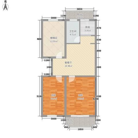 盛天家苑2室1厅1卫1厨93.00㎡户型图