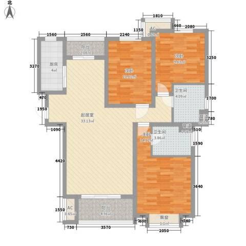 汉城国际3室0厅2卫1厨128.00㎡户型图