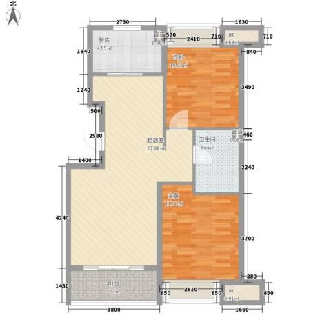 金色玺园2室0厅1卫1厨88.00㎡户型图
