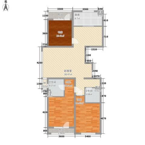 金色玺园3室0厅2卫1厨129.00㎡户型图