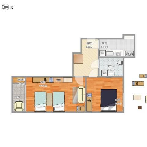 太极小区2室1厅1卫1厨66.00㎡户型图
