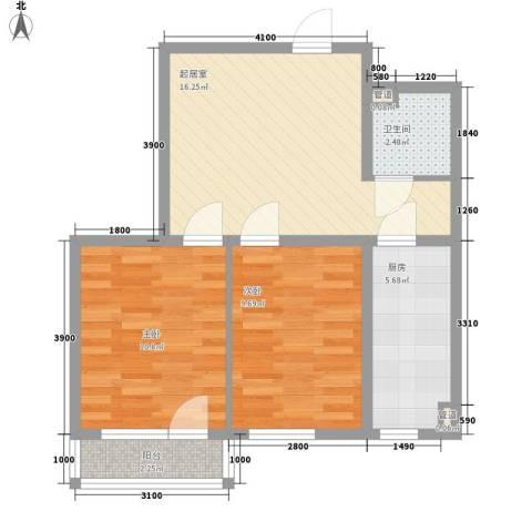 金色玺园2室0厅1卫1厨68.00㎡户型图
