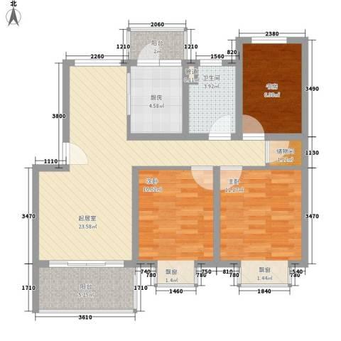 当代高邸3室0厅1卫1厨100.00㎡户型图