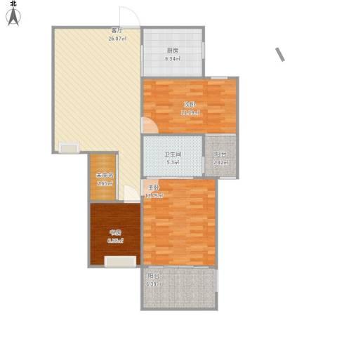 锦绣大地城3室1厅1卫1厨98.00㎡户型图