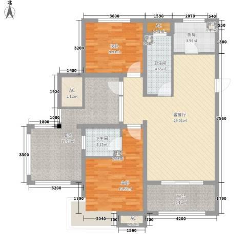 富立・秦皇半岛2室1厅2卫1厨122.00㎡户型图