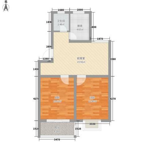 千叶华园2室0厅1卫1厨81.00㎡户型图
