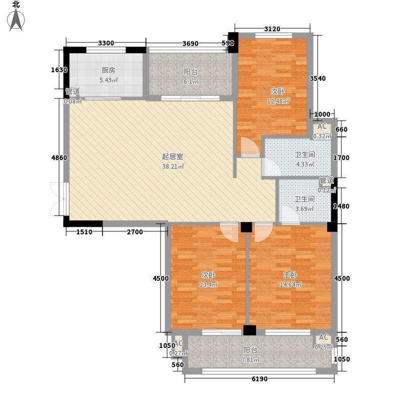 中庚紫金香山户型图7#03单元 3室2厅2卫1厨