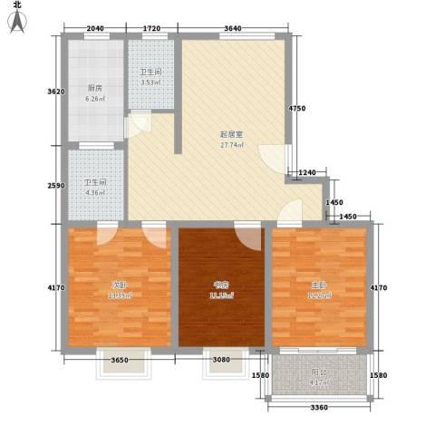 千叶华园3室0厅2卫1厨119.00㎡户型图