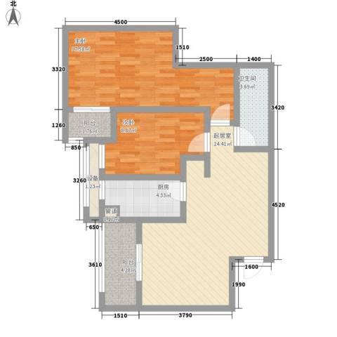 上东大道2室0厅1卫1厨90.00㎡户型图