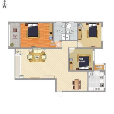 齐鲁时代花园3室1厅2卫1厨148.00㎡户型图
