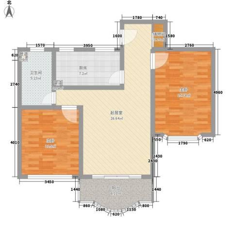 申达枫桥苑2室0厅1卫1厨107.00㎡户型图
