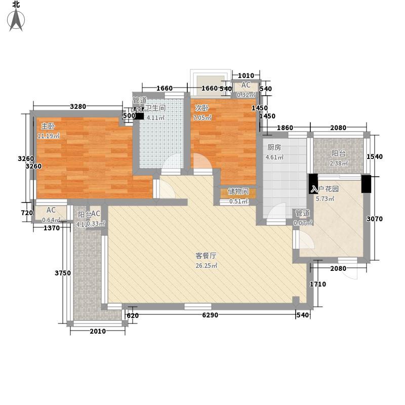 复地公园城邦101.10㎡10号楼1403(已售完)户型2室2厅1卫1厨