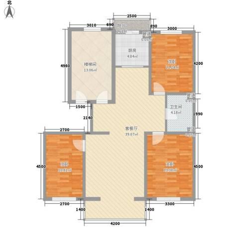 阳光A版3室1厅1卫1厨113.00㎡户型图