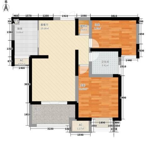 海门东恒盛国际公馆2室1厅1卫1厨89.00㎡户型图