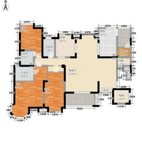 海门东恒盛国际公馆3室1厅3卫1厨190.00㎡户型图