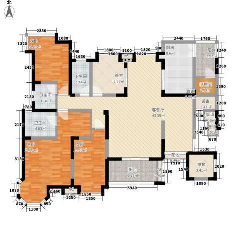 海门东恒盛国际公馆3室1厅3卫1厨194.00㎡户型图