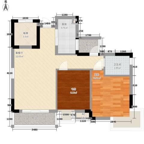 万达丰大厦2室1厅1卫1厨82.00㎡户型图