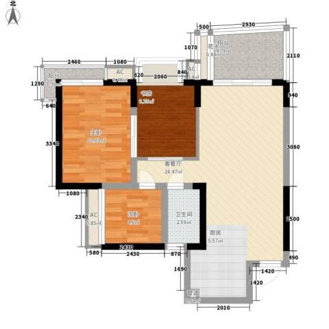 翡翠明珠花园3室1厅1卫0厨86.00㎡户型图