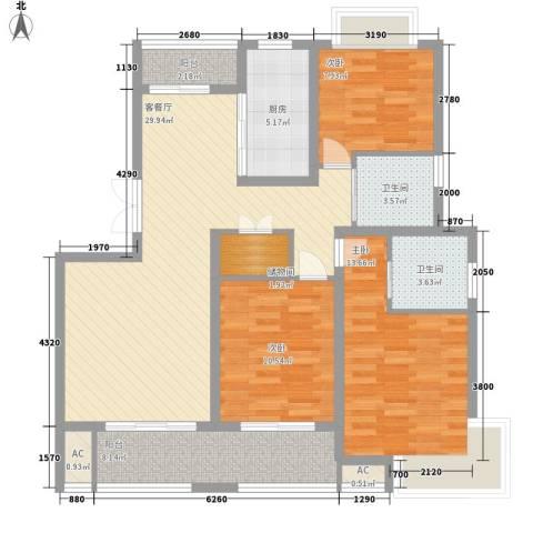 宏韵韶光花园3室1厅2卫1厨129.00㎡户型图