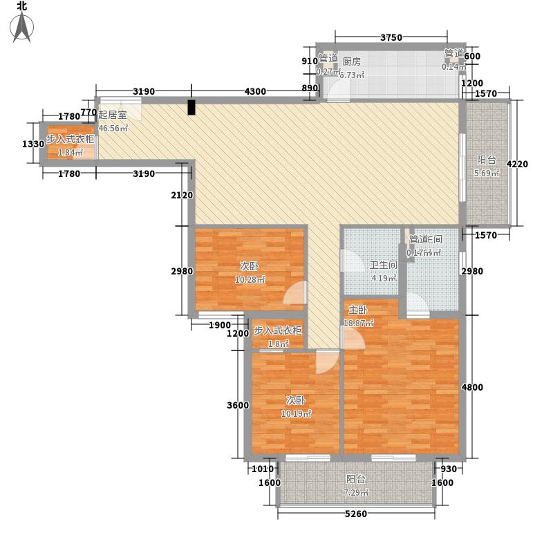 翌景嘉园二期旺角铭座153.23㎡D反户型3室2厅2卫1厨
