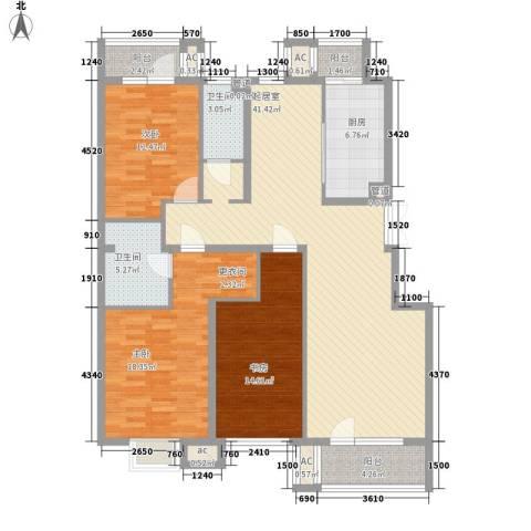 金融街・金色漫香郡3室0厅2卫1厨138.00㎡户型图