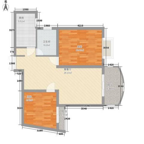 上海壹街区2室1厅1卫1厨89.00㎡户型图