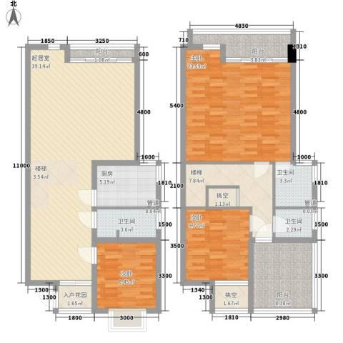 琵琶岛山水豪庭3室0厅3卫1厨147.00㎡户型图
