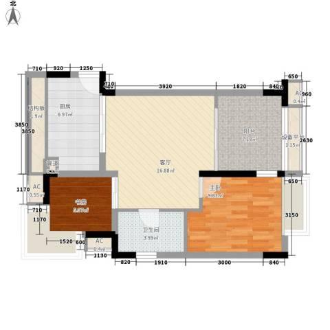 太湖天城2室1厅1卫1厨80.00㎡户型图