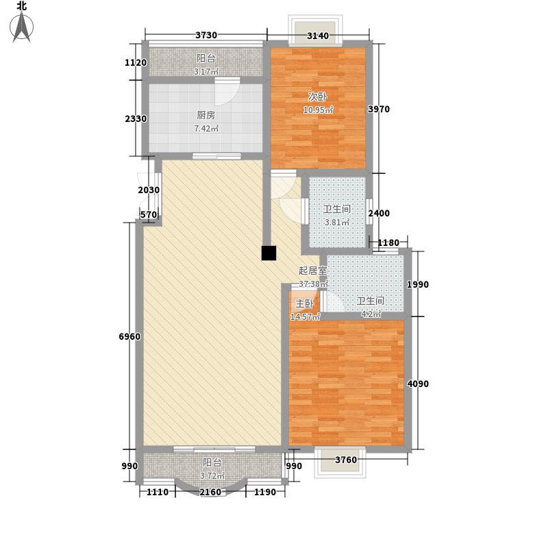 欣月湖122.70㎡F户型2室2厅2卫1厨