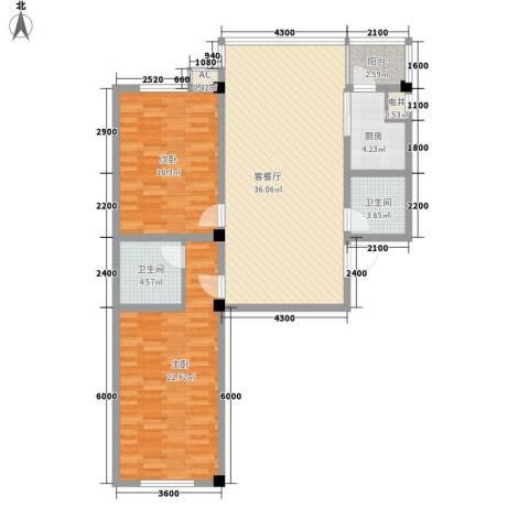 瑞阳广场2室1厅2卫1厨113.00㎡户型图